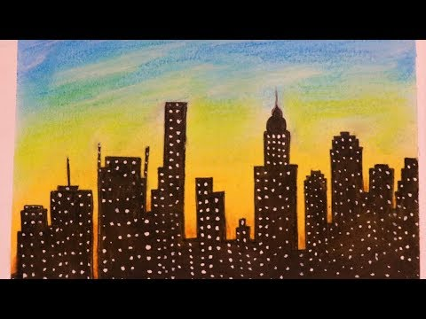 easy-skyline-drawing-with-soft-pastel-  -step-by-step-  