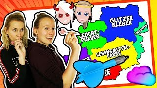 DARTS SLIME CHALLENGE NINA vs KATHI | Auf Karte werfen & Schleim mischen | Throwing Darts at a Map