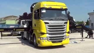 Scania 4 assi - Cassone con gru Hiab pianale ribassato banchine inox allungabile