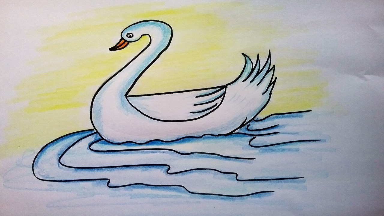 How To Draw A Swan Landscape Scenery Easy Draw Duck Easy Drawing