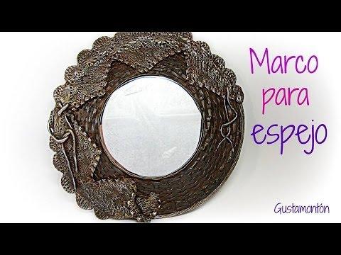 Diy recycled mirror frame marco para espejo reciclado for Marcos plateados para espejos