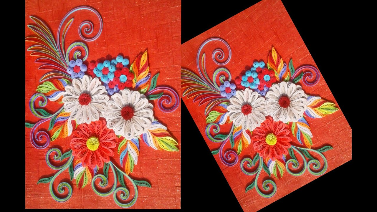 paper quilling Art/ how to make beautiful paper flower greeting card tutorial (quilling art)