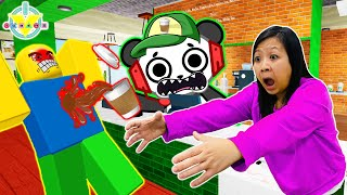 Ryan's Mommy Work at the Coffee Shop in Roblox with Combo Panda!!