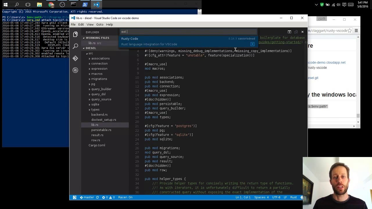 RustyCode Running on Docker in Azure & Displaying Locally