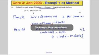 a level maths edexcel core 3 past paper questions ch7 rcos theta alpha method