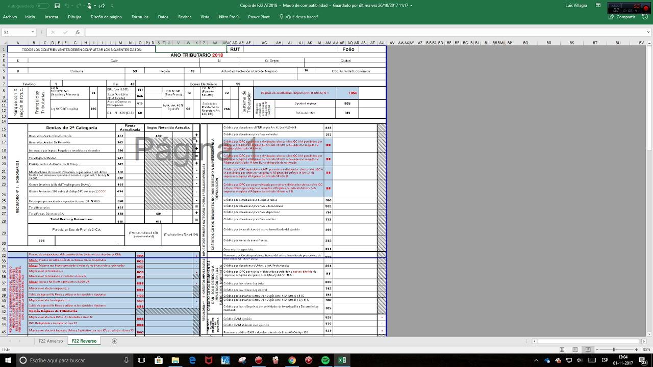 Formulario 22 Renta 2017 At 2018 Pdf ( Parte 1) y adjunto archivo ...