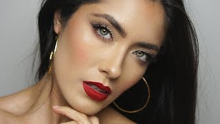 The Perfect Red Lip and Simple Makeup | Melissa Alatorre
