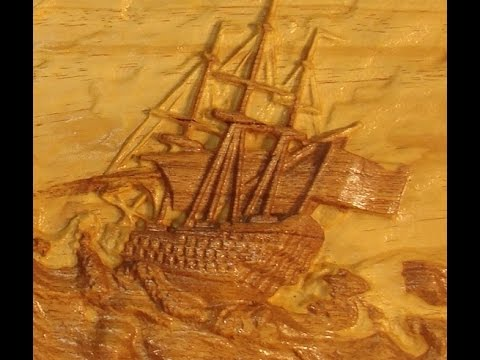 44 6090 Cnc Router 3d Caving A Ship In High Seas In Wood