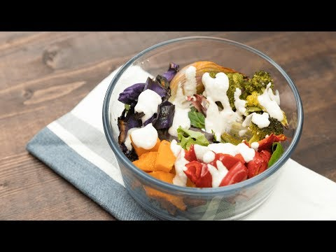 Roasted Fall Veggie Salads with Lemon-Tahini Dressing