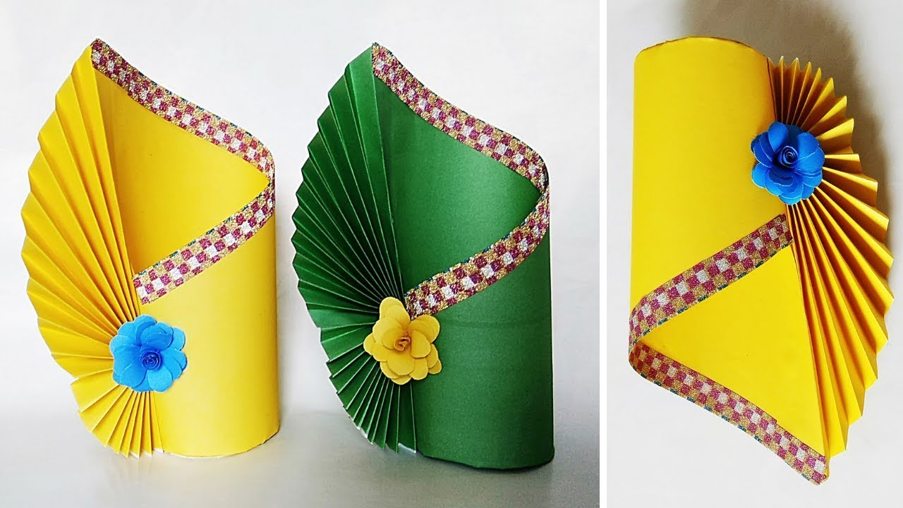 How To Make A Flower Vase At Home Making Paper Flower Vase Diy Simple Paper Crafts