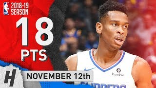 Shai Gilgeous-Alexander Full Highlights Clippers vs Warriors 2018.11.12 - 18 Pts, 5 Reb