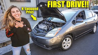 FIRST DRIVE on Honda K-Series Swapped PRIUS! THIS THING FREAKIN RIPS!!! *Open Headers*