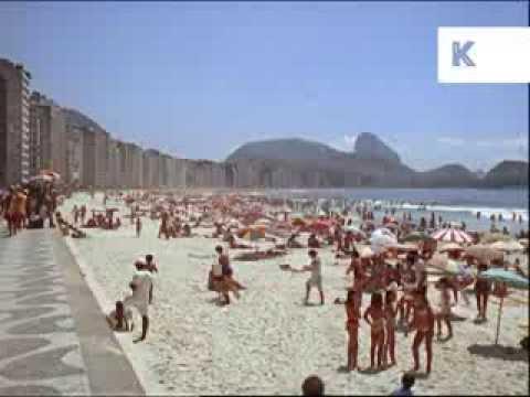 1960s Copacabana Beach, Rio, Brazil, Bikini Girls, 35mm Colour Footage