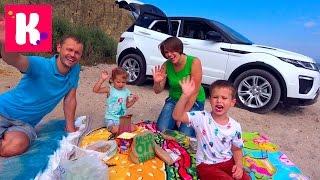 Челлендж Пикник на машинах Мальчики против Девочек Едем на море