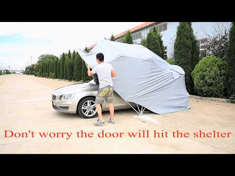 Retractable Carport Small-Medium Size Garage Foldable Car Shelter Completely Folded on Ground