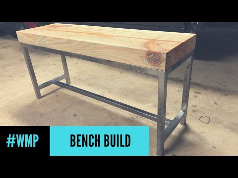 Reclaimed Wood Bench With Metal Base #WMP