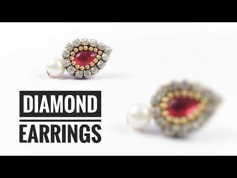 Diamond Earring Simple Easy Making /Designer Rhinstone Earring with Paper
