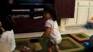 "Megumi dances to the Backyardigans song from ""Monster Detectives."""