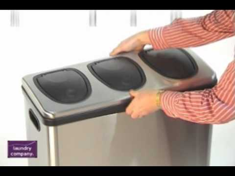 Trio 60 Litre Brushed Stainless Steel Kitchen Home Recycling Bin