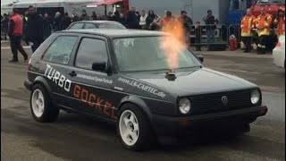VW Golf Mk2 VR6 Turbo 4motion 1000+HP 1/4 Mile Drag Race Turbo Gockel Renner 3 Flugplatzblasen 2015