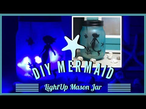 DIY Mermaid Light Up Frosted Mason Jar - Beach Theme Room Decor - Dollar Tree