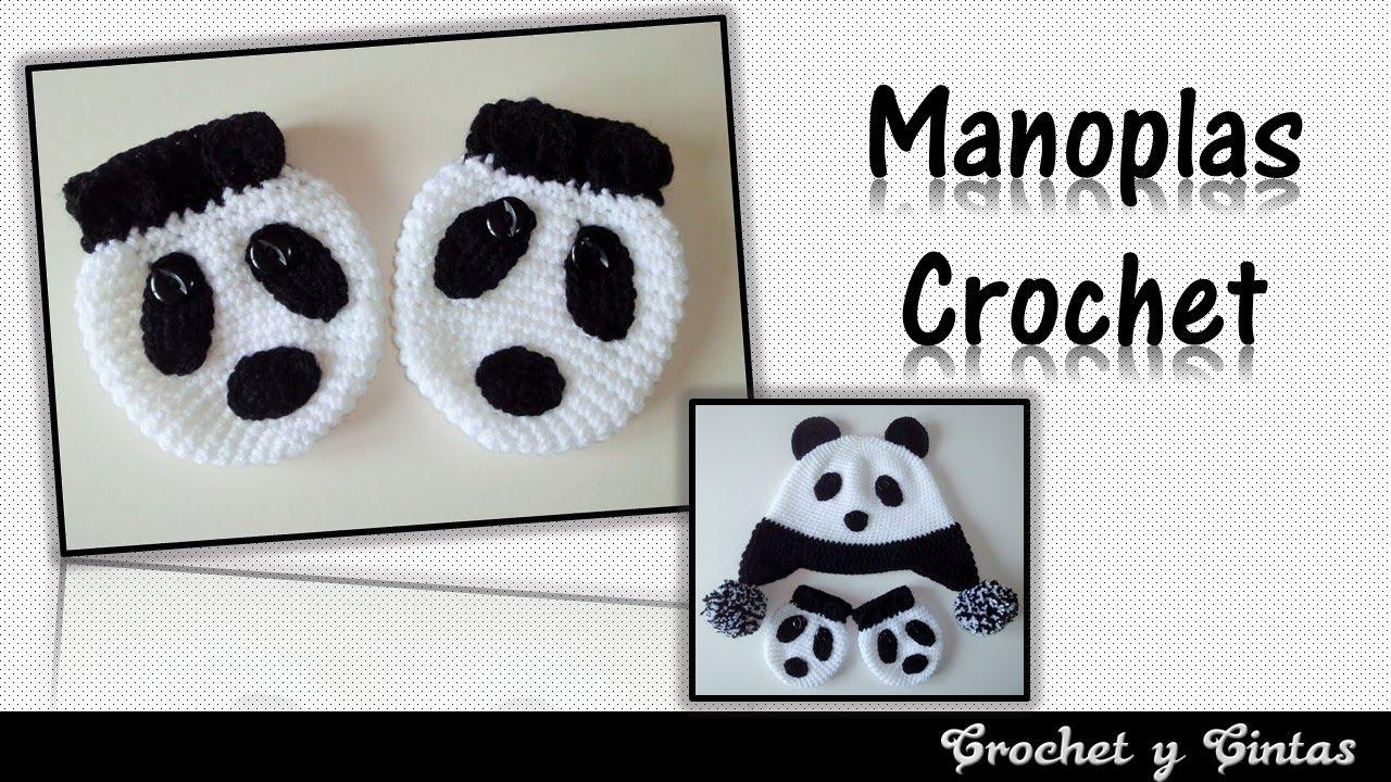 Manoplas - mitones oso panda para niños tejidas a crochet - YouTube
