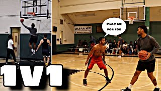 TRASH TALKER CALLS ME OUT TO A 1v1 FOR MONEY AFTER PRIVATE 5V5 BASKETBALL RUNS! PART 2! *INTENSE*