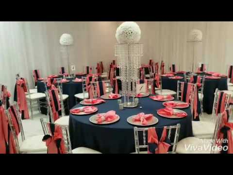 Navy And Coral Wedding.Coral Navy Wedding Reception The Ambiance