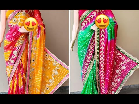 Elegant Art Silk Bandhej Sarees With Beautiful Gota Patti Embroidery   Ethnic Sarees(2020)