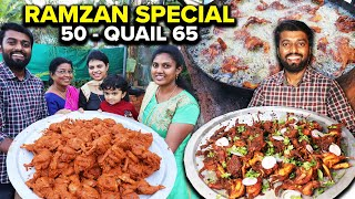 RAMZAN SPECIAL !! 50 காடை 65 in Rocket Stove | Homemade Quail Fry