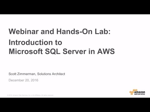 Introduction to Microsoft SQL Server in AWS