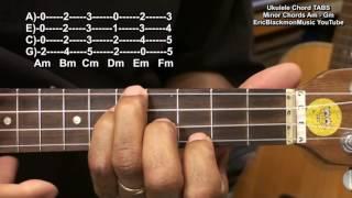 How To Play Ukulele Chords Minor Am Bm Cm Dm Em Fm Gm TABS EricBlackmonGuitar HD