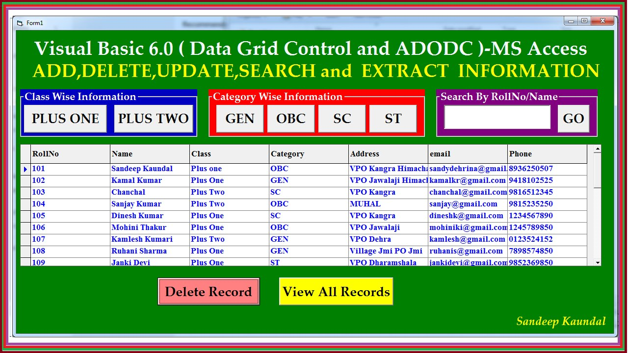 Add Delete Update Search using VB6 DataGrid-Adodc & Ms Access database-Step  by Step Tutorial