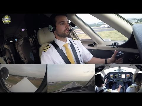 Ice-man performs SOFTEST LANDING EVER on Hahn Air Citation Sovereign at Düsseldorf [AirClips]