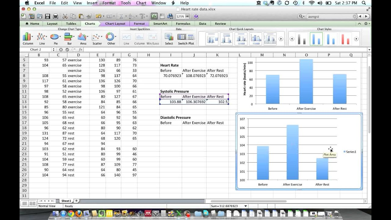 Making a column graph using Mac Excel 2011