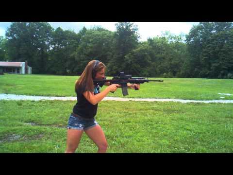 Erika shooting the AR-15