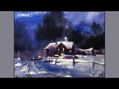 "Advancing with Watercolor - Edge control Part 3 ""Moonlight on Snow"""