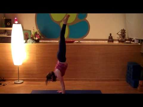 advanced yoga crow pose to handstand back to crow transition with heather seiniger  youtube
