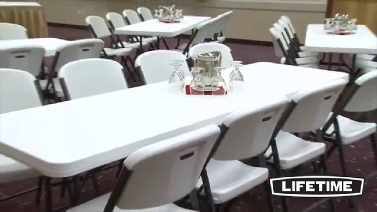 Lifetime White 4 Folding 8 Tables And 32 Folding Chairs