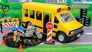 Kids toys. Fantastic story with cars and school bus. Toy vehicles