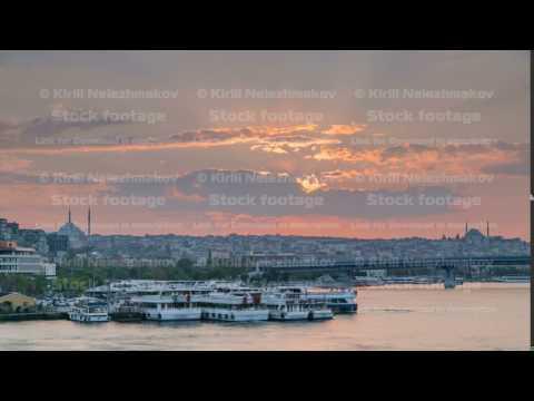 Passenger Ferry in the Bosphorus at sunset timelapse, Istanbul skyline, Turkey