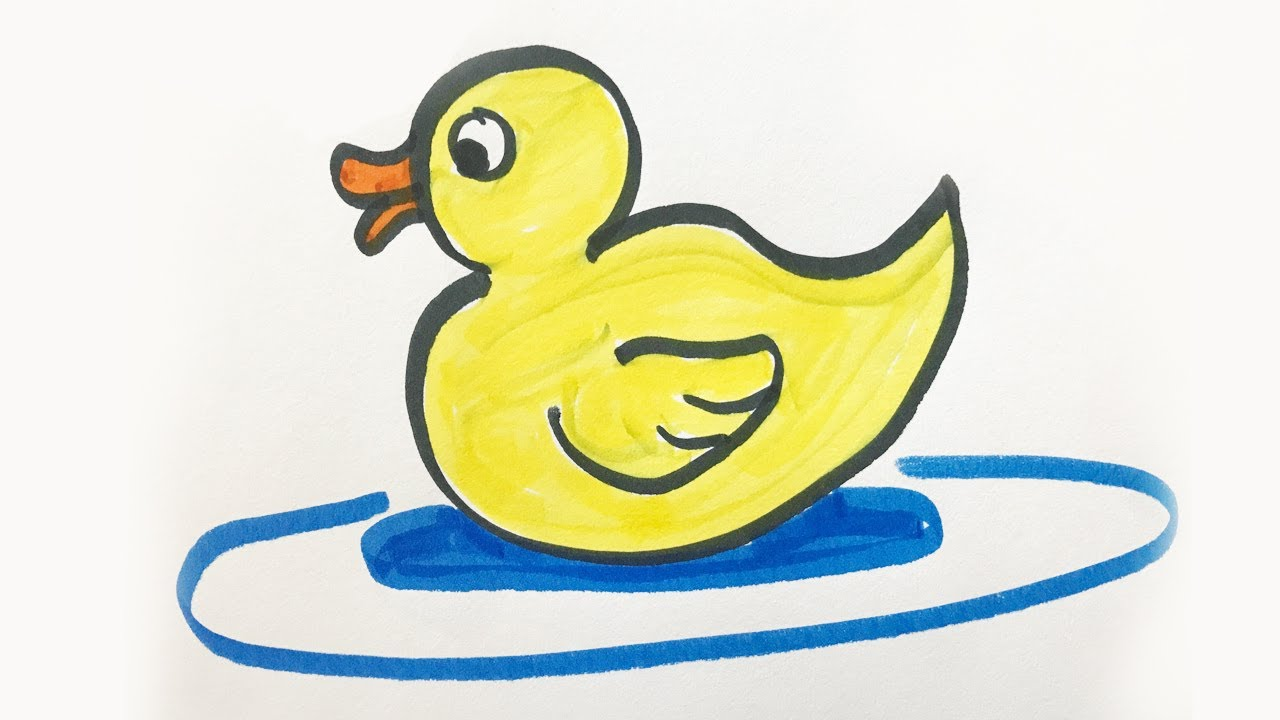 How To Draw And Color A Baby Duck For Kids