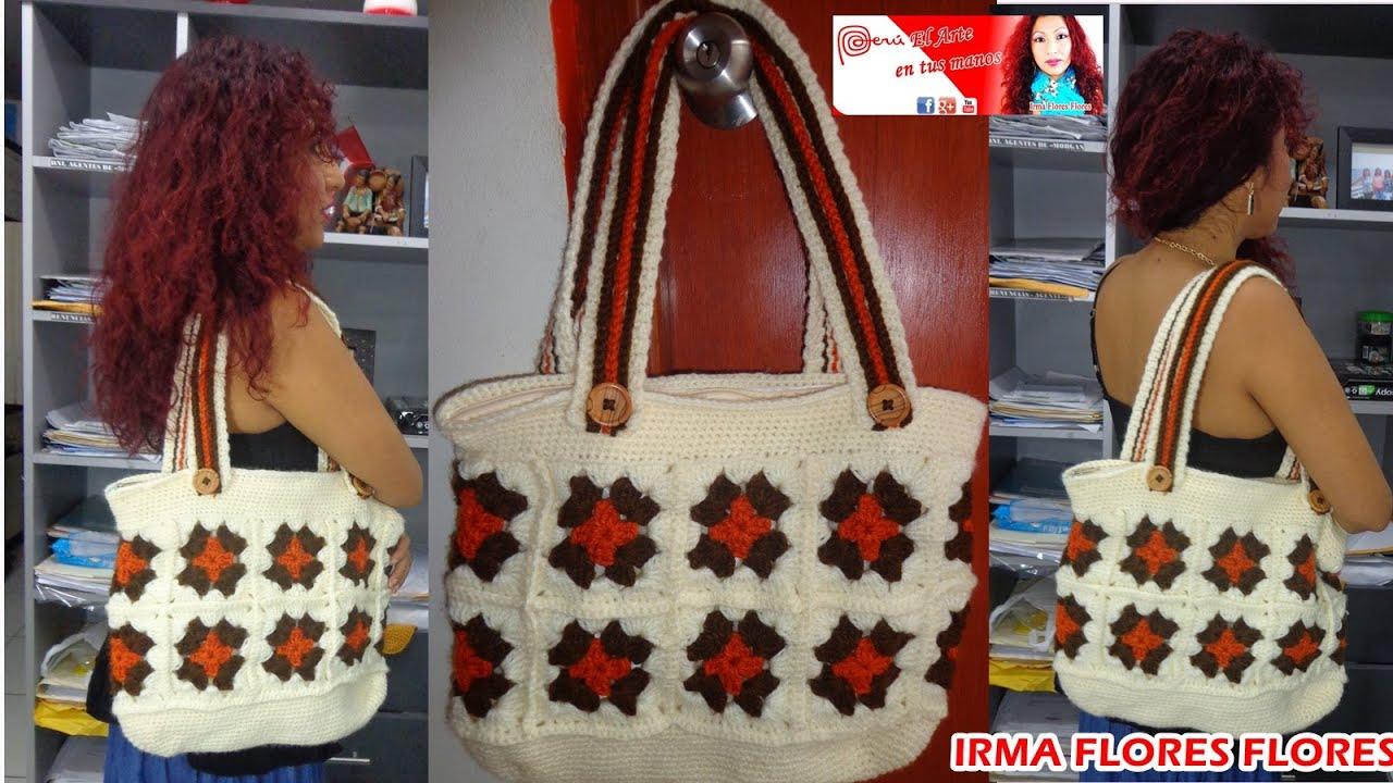 aprende a tejr esta cartera grande en cuadros tejida a crochet paso a paso youtube