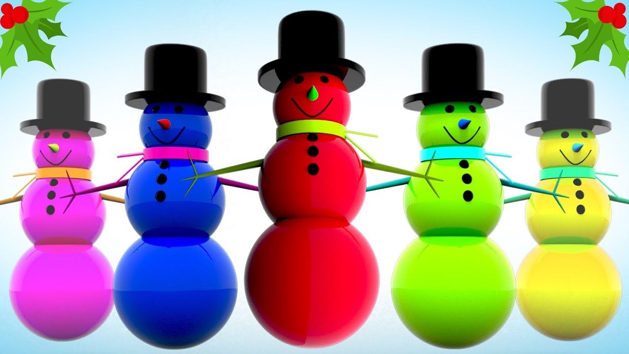 Learn Colors and 3D Shapes for Kids with Colored Snowman in Line ...