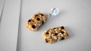 Chocolate Chip Granola Bar Tutorial, Polymer Clay Miniature Food