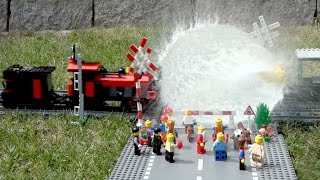 Lego train crash compilation with water balloons (HD)