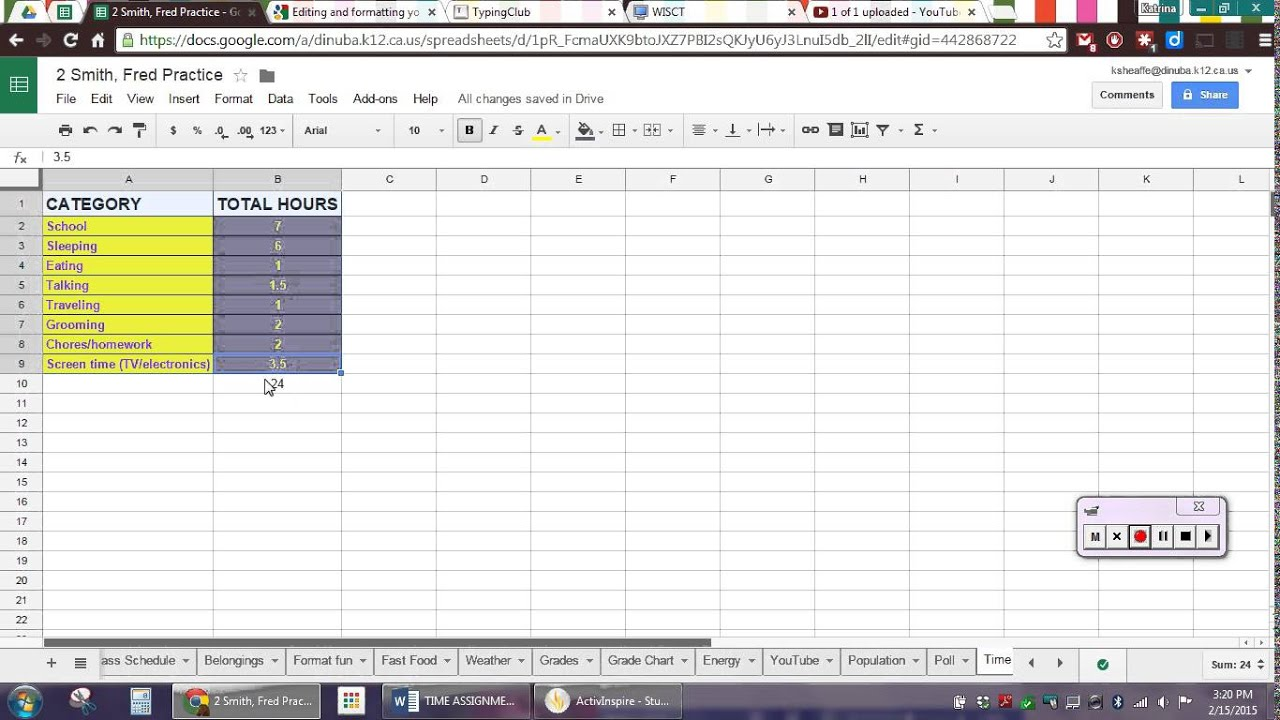 Google sheets pie chart time youtube google sheets pie chart time nvjuhfo Image collections