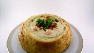 Creamy clam and lobster chowder (in a crunchy bread bowl)
