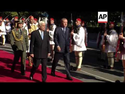Erdogan reviews Greek honour guard