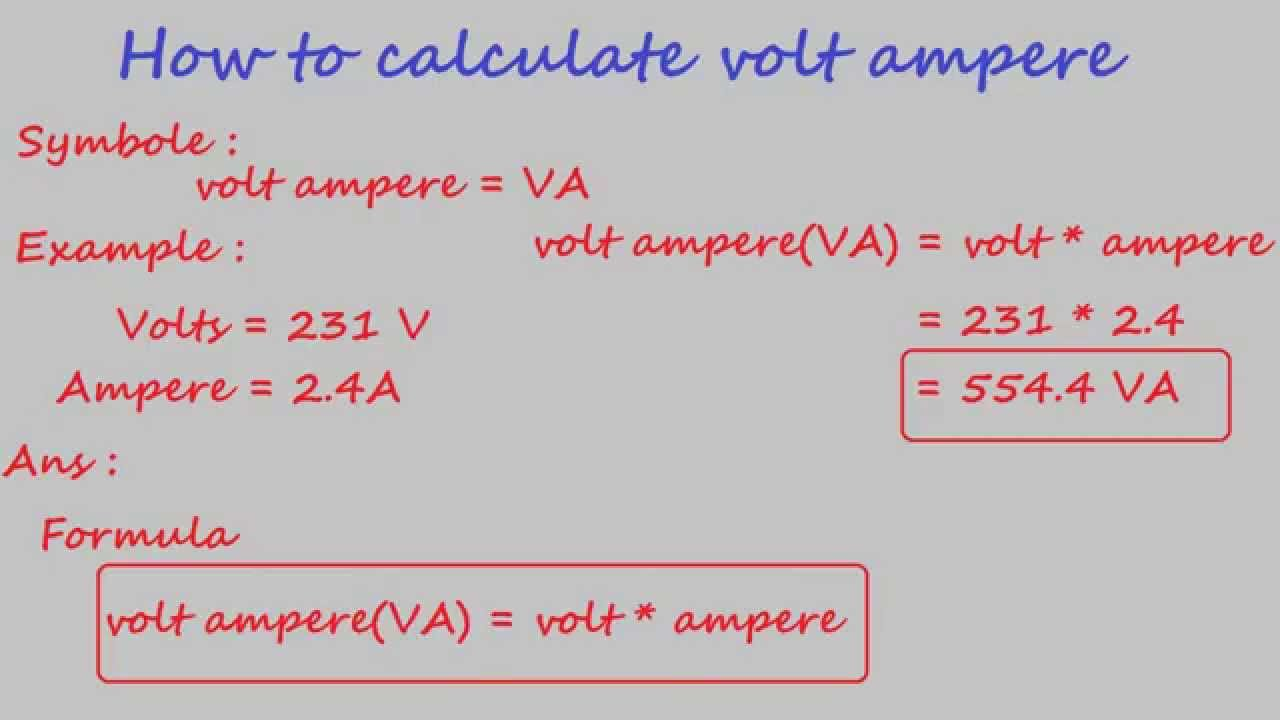 how to calculate volt ampere - electrical calculation - YouTube